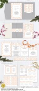 Peach wedding pocketfold invitation suite templates