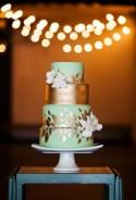Mint-and-Gold Cake With Leaf Details
