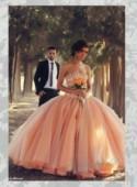 Glitter beading sparkles peach blush color ball gown wedding dress