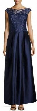 Kay Unger New York Floral-Embroidered Cap-Sleeve Gown