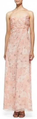 Amsale Strapless Printed Gown, Shell