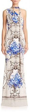 Roberto Cavalli Palais Royal Printed One-Shoulder Gown