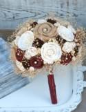 Rich Maroon Rustic Heirloom Bride's Wedding Bouquet - Sola Wood, Natural Wildflowers, Fabric Flowers, Burlap - Oxblood, Marsala, Dark Red