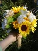Bride Bouquet, Sunflower Wedding, Burlap Wrap Sunflower Silk Calla Bridal Bouquet, Rustic Woodland Wedding, FFT original, Made to Order