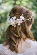 bridal hair piece, bridal hair vine, ivory floral crown, bridal headpiece flower, floral hair accessory, ivory headband, crystal headpiece