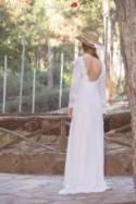 Wedding Dress, Long Bridal Gown, 70s Bridal Dress, Bell  Sleeve Dress, Long Sleeve Wedding Dress,Open Back Bridal Dress by SuzannaM Designs