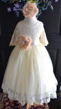 Ivory Flower girl Tutu dress, Girls Long Tulle Skirt lace blouse, Ivory lace Skirt blouse set , Girls Tutu, Flower girl dress