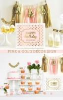 Pink And Gold Sign - Happy Birthday Sign - Pink And Gold Birthday Decor Ideas - Pink Birthday Party (EB3058FY) - Printed SIGN ONLY
