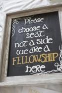 This wedding welcome sign brings the Fellowship together