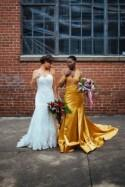 Don't miss the stunning golden gown at this industrial shoot