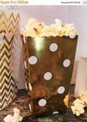 GLAM SALE 36 Mini Popcorn Favor Boxes in Chevron, Stripe or Polka Dot, Mini Popcorn Favor Boxes, Gold and Silver Wedding Favor Boxes