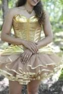 Don't miss the gilded gold tutu dress at this forest festival wedding