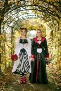 Halloween Costume Party Wedding with Rainbow Bridesmaids