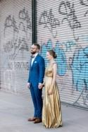 A gold dress wedding with karaoke, and tacos all wrapped up in fairy lights