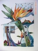 Bird of Paradise Flower- PAINTING ORIGINAL WATERCOLOR painting original watercolor watercolour Original art ooak Crane Flower Paradise