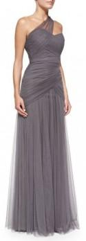 Bridesmaids One-Shoulder Draped Tulle Gown, Slate
