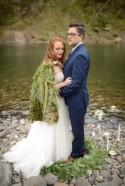 A moss cape and metal bow tie slays all wedding fashion forever