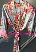 Floral kimono robe, Silk Flower Bridesmaid robes, Satin wedding robes, Getting ready robe, Underwear bridal gifts