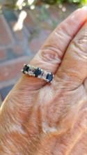 sapphire diamond wedding band ring size 6 1970's 1.5ct genuine natural blue sapphire genuine natural diamonds gold vermeil sterling ring