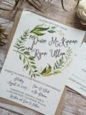 Rustic Wedding Invitation, Leafy Wreath Wedding Invitation, Laurel Wedding Invitation, Kraft Wedding Invitation, Country Wedding