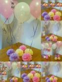 Wedding party baby shower christening  balloon weights,table centrepieces and decorations tissue paper pompoms ..balloons not included