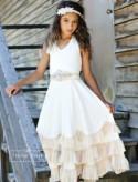 Beach wedding flower girl dress, boho flower girl dress, Ivory flower girl dress rustic, flower girl dresses, girls maxi dress,