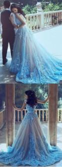 A-Line Wedding Dresses,Blue Wedding