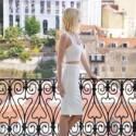 Kirsten Casual Wedding Jersey Two Piece Dress. Elegant White Set with Sweetheart Cropped Bralet and Fitted Knee Length Pencil Skirt