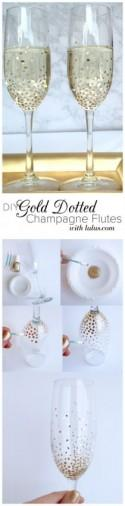 DIY Gold Dot Champagne Flutes