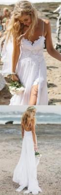 Beach Simple Wedding Dresses, Casual Wedding Dresses, White Tulle A-line Wedding Dress, Princess V Neck Wedding Dress,Spaghetti Straps Wedding Dresses Sold By SIMIBRIDALDRESS