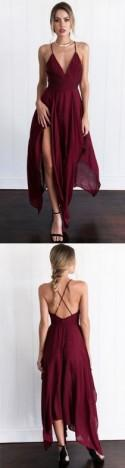 New Arrival Cross Back Wine Red Assymetrical Hem Long Prom/Evening Dress From Dressthat