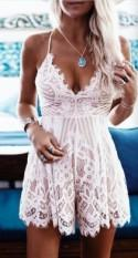 Lace V Neck Romper