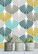 Removable wallpaper/Wallpaper/Peel and Stick/Self adhesive wallpaper/Temporary wallpaper /Modern Wallpaper /Geometric  patern A08A