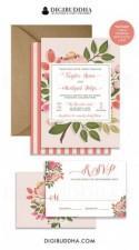 WEDDING INVITATION SUITE Wedding Invites Wedding Invitation Set 2 Pc RsVP Wedding Invitation Printable Or Printed Invites Floral - Taylor