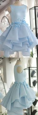 Blue Homecoming Dresses, Scoop Neck Satin Tulle Short Prom Dresses, Beautiful Flower(s) Original A-line Cocktail Dress, #020103777