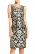 Metallic Embroidered Sheath Dress (Regular & Petite)