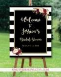 Bridal Shower Welcome Sign (Black White Burgundy Marsala Gold Glitter Stripes Flowers) - Printable (16x20)