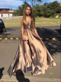 Simple V Neck Long Prom Dress , Evening Dresses From Dreamy Dress