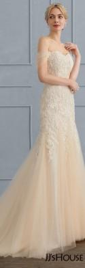 Trumpet/Mermaid Sweetheart Sweep Train Tulle Lace Wedding Dress (002107839)