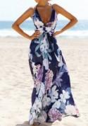 Deep Blue Flowers Print Sashes Draped A-line Spaghetti Strap Bohemian Maxi Dress