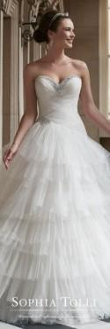 Strapless Ruffled Tulle Ball Gown Wedding Dress - Sophia Tolli Y21760