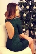 Beading Backless Half Sleeves Sheath Short Dress