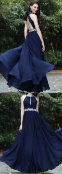 Halter Long Prom Dress Backless A-line Chiffon Sleeveless Beaded Evening Dress,HS246