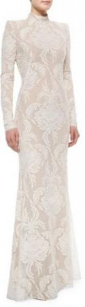 Alexander McQueen Long-Sleeve Swiss Dot Damask Lace Gown