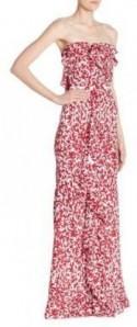 Oscar de la Renta Printed Ruffle Silk Gown