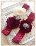 Lace Wedding Garter Set, Vintage Garter, Lace Garter, Bridal Garter Set, Garter - Burgundy lace, Wine and Cream Flower Garter Set