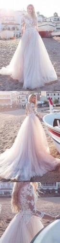 Tulle Scoop Neckline A-line Wedding Dress With Lace Appliques WD188