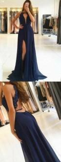 A-Line Jewel Open Back Dark Navy Chiffon Prom Dress With Lace