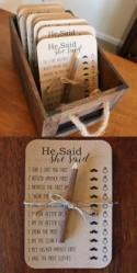 PRINTED He Said She Said Bridal Shower Game . Printed Bridal Shower Game Cards . Bridal Shower Games . He Said She Said . Who Said It ?