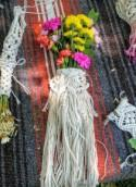 Macrame Wedding Bouquet Wrap / Woven Bridal Flower Holder / Mini Macrame Wall Hanging